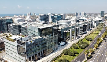 Office buildings housing tech companies in the Herzliya Pituach Business Center, central Israel.