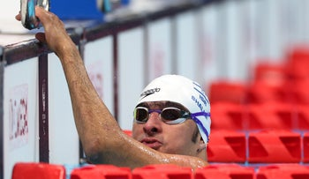 Iyad Shalabi during the men's 100m backstroke event at Tokyo 2020 Paralympic Games, on Wednesday.
