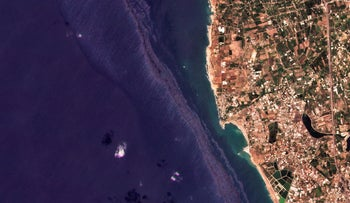 A sattelite photo showing the oil spill off the coast of Baniyas, Syria