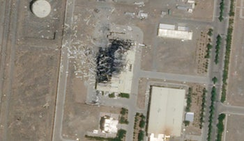 A satellite image from Planet Labs Inc. shows the substantial damage done by an explosion and a fire at an advanced centrifuge assembly plant at Iran's Natanz nuclear site, last year.