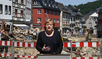 Angela Merkel at a press conference in western Germany last month.