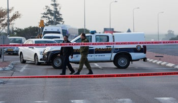 Israeli police at a crime scene in southern Israel in February.