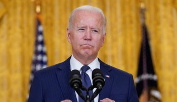 President Joe Biden speaks at the White House about the bombings at the Kabul airport, Thursday.