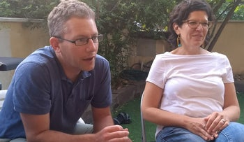 The late U.S.-born journalist Joshua Mitnick, who moved to Israel in 1997 and wrote for a host of leading media outlets, with his wife, Lesley Benedikt
