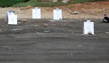 The crime scene in Lod of the murder of 18-year-old Anas Wahwaah on Saturday.