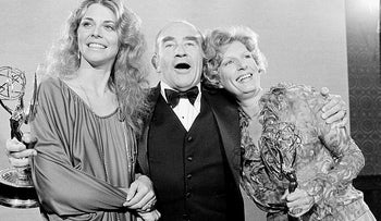 Lindsay Wagner, left, Ed Asner, center, and Nancy Marchand pose at the 30th annual Primetime Emmy Awards in Pasadena, California