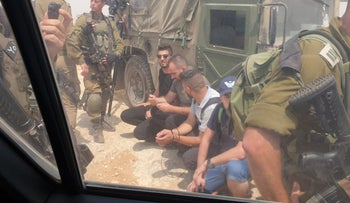 Palestinian journalists detained by the IDF in the West Bank, August 2021.