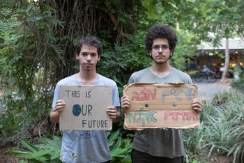 Teenagers protest failures to address climate change.