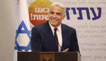 Israeli Foreign Minister Yair Lapid at a meeting of his Yesh Atid party, July.