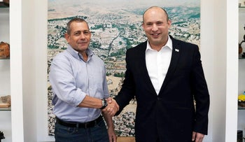Outgoing Shin Bet chief Nadav Argaman with Prime Minister Naftali Bennett, in July.