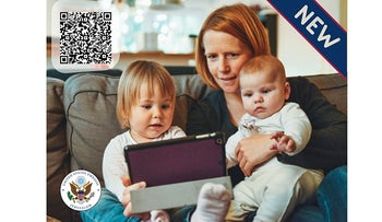The website page of the U.S. Embassy in Israel's option for obtaining passports for children under 2.