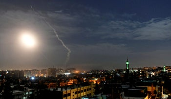 Missiles flying into the sky in Damascus during an alleged Israeli strike, January 2019.