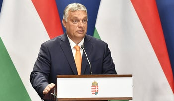 Hungarian Prime Minister Viktor Orban speaking during a summit in Budapest yesterday.