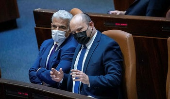 Lapid and Bennett in the Knesset, last week