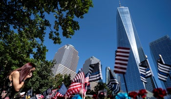 A mourner during ceremonies to commemorate the 20th anniversary of the September 11 terrorist attacks in New York, Saturday.