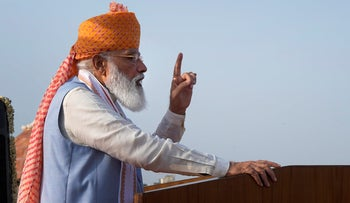 Indian Prime Minister Narendra Modi addresses Independence Day celebrations at the Red Fort in New Delhi last month, touting his government's COVID achievements.