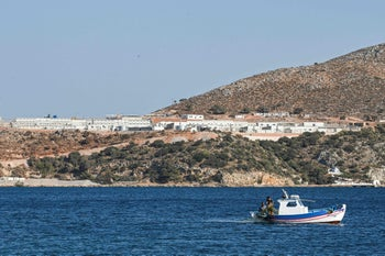 A general view of the newly built closed controlled access camp on the Greek island of Leros, last week.