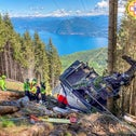 The crashed cable-car in Northern Italy