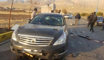 The scene of the attack that killed prominent Iranian scientist Mohsen Fakhrizadeh, outside Tehran, last year.