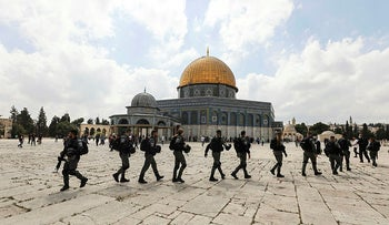 Israeli security forces patrol the compound known to Muslims as Noble Sanctuary and to Jews as Temple Mount, in Jerusalem's Old City