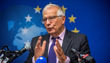 European Union foreign affairs chief Josep Borrell speaks to the press in New York, today.