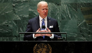 U.S. President Joe Biden addresses the 76th Session of the UN General Assembly, Tuesday.