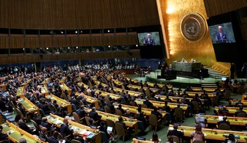 President Biden addresses the U.N. General Assembly in New York City, on Tuesday.