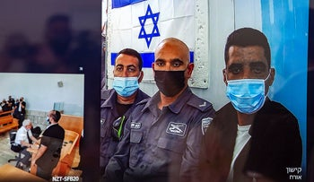 A court hearing on extending the remand of the escaped prisoners in Nazareth, last week.