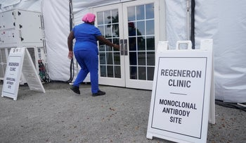 A nurse enters a monoclonal antibody site, at C.B. Smith Park in Pembroke Pines, Florida, in August.