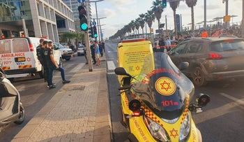 The scene at which a 22-year-old suspect allegedly threatened passersby in Tel Aviv on Wednesday.