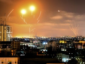 Iron Dome missiles intercepting rockets fired from Gaza during the latest flare-up between Israel and Hamas and other Palestinian militant groups in May.