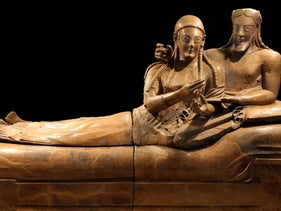 Sarcophagus of the Spouses from Villa Giulia in Rome: Etruscan art displays oriental influences, in the eyes and hair, and their gender equality scandalized their contemporaries
