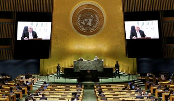 Mahmoud Abbas, President, State of Palestine delivers a speech remotely at the UN General Assembly at the United Nations Headquarters, in New York City, on Friday.