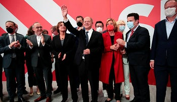 German Social Democratic Party (SPD) leader and top candidate for chancellor Olaf Scholz, today.