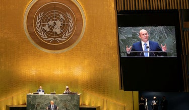 Bennett addresses the 76th Session of the United Nations General Assembly, today.