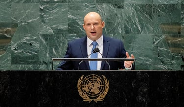 Bennett addresses the 76th Session of the United Nations General Assembly in New York, yesterday.