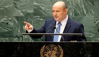 Israeli prime minister Naftali Bennett addresses the 76th Session of the United Nations General Assembly, at UN headquarters in New York, on Monday.