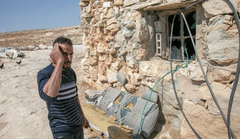 The aftermath of an attack by settler in the Palestinian village of Khirbat al-Mufkara in the West Bank, Wednesday.