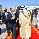 Israeli Foreign Minister Yair Lapid is received by Bahrain's Foreign Minister Abdullatif Al-Zayani upon his arrival at Bahrain International Airport in Bahrain, Thursday.