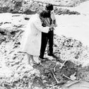 Researchers trying to identify remains at Babi Yar, Ukraine, in 1966, a photo from the Emmanuel (Amik) Diamant Collection at  the National Library of Israel.
