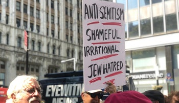 The protest in New York City calling on Mayor De Balsio to take action against antisemitism, in 2019.
