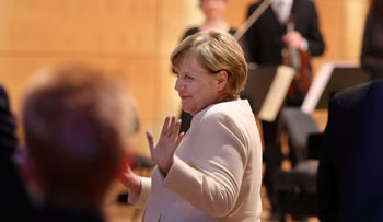 Angela Merkel at a ceremony in Halle, Germany on Saturday.