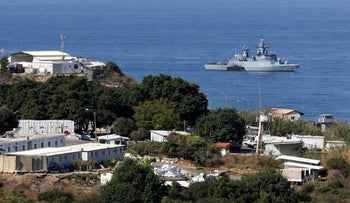 A UN ship is pictured in the southernmost area of Naqura, by the border with Israel, last year.