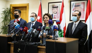 The Lebanese, Jordanian, and Egyptian energy ministers in Amman, last month