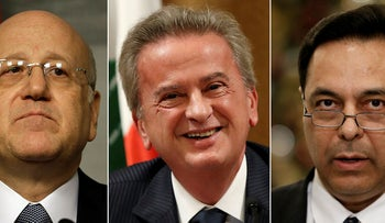 A combo of file pictures show portraits of Lebanese politicians who their names revealed in Pandora documents, Lebanese Prime Minister Najib Makati (left), Riad Salameh the governor of Lebanon's Central Bank (center)and former Lebanese Prime Minister, Hassan Diab (right).