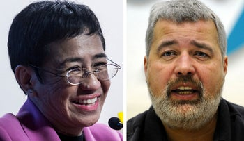 The 2021 Nobel Peace Prize was awarded on October 8, 2021 to journalists Maria Ressa (L) and Dmitry Muratov (R).