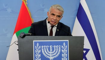 Yair Lapid at a news conference in Dubai, United Arab Emirates, in June.