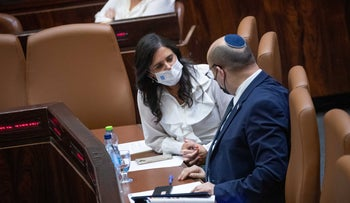 Interior Minister Ayelet Shaked with Prime Minister Bennnett at the Knesset on Monday.