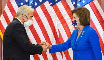 Israeli Foreign Minister Yair Lapid and U.S. House Speaker Nancy Pelosi in Washington, on Tuesday.