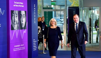 Sweden's Prime Minister Stefan Lofven and his wife at the International Forum on Holocaust Remembrance and Combating Antisemitism in Malmo, Sweden, today.